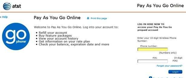 ATT Paygonline Login - GoPhone Refill Account Sign in