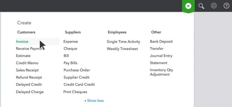 Plus Icon in QuickBooks Online